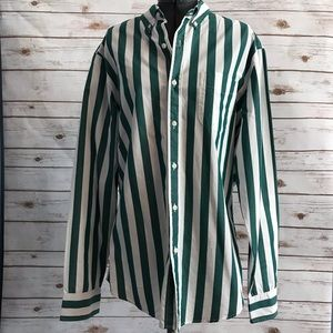 J.Crew green and white mens classic stripe shirt